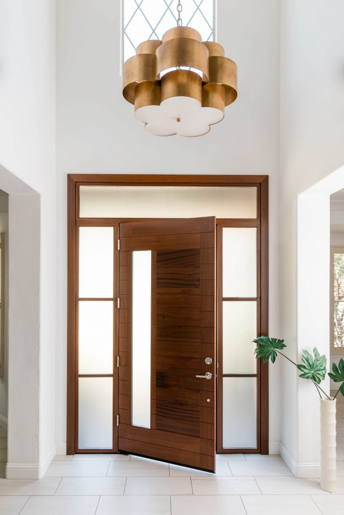 warm modern interior design front door PepperJack Interiors Loomis California