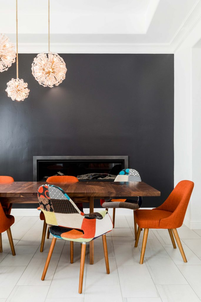 PepperJack Interiors Loomis California warm modern interior design black wall dining room
