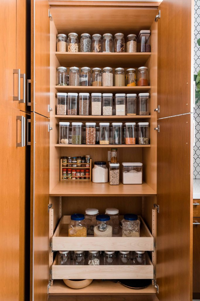 PepperJack Interiors Loomis California warm modern interior design organized pantry
